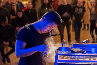Slayer Steam Latte Art Competitors Pouring