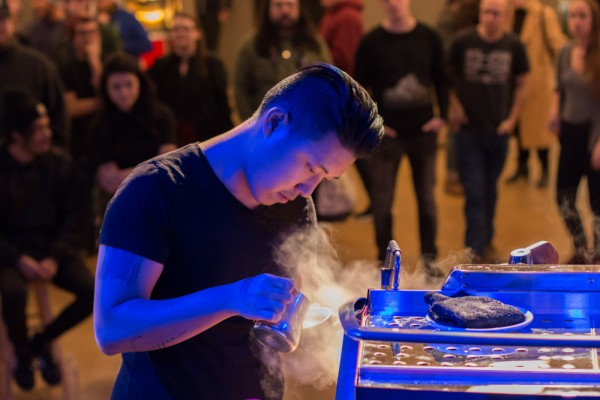 Slayer Steam Latte Art Competitors Pouring
